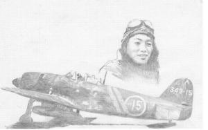 343-A-15号機と菅野直大尉(イメージ)