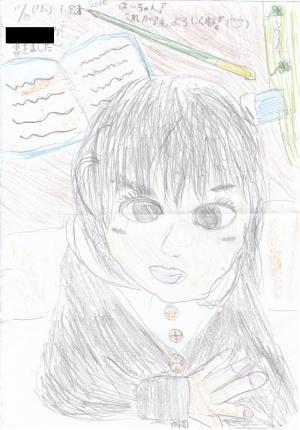 お友だちが描いてくれた春海肖像画